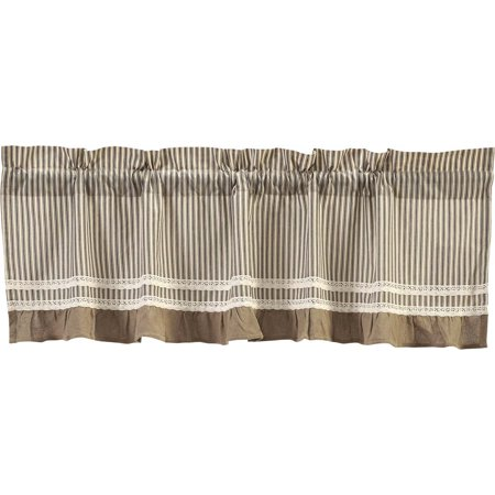Creme Black White Farmhouse Kitchen Curtains Kendra Stripe Rod Pocket Cotton Lace Cotton Burlap Striped 19x60