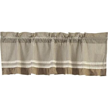 Creme Black White Farmhouse Kitchen Curtains Kendra Stripe Rod