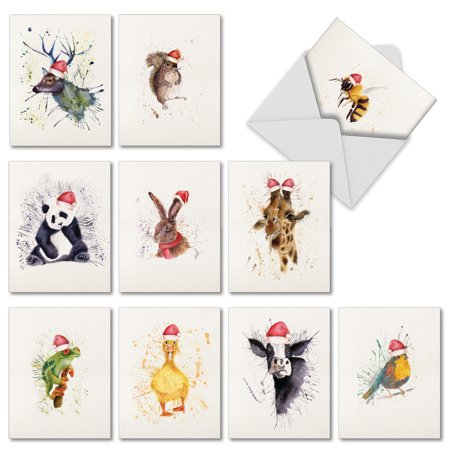M2973xsb wildlife expressions holiday 10 assorted merry christmas m2973xsb wildlife expressions holiday 10 assorted merry christmas greeting cards featuring watercolored animals m4hsunfo