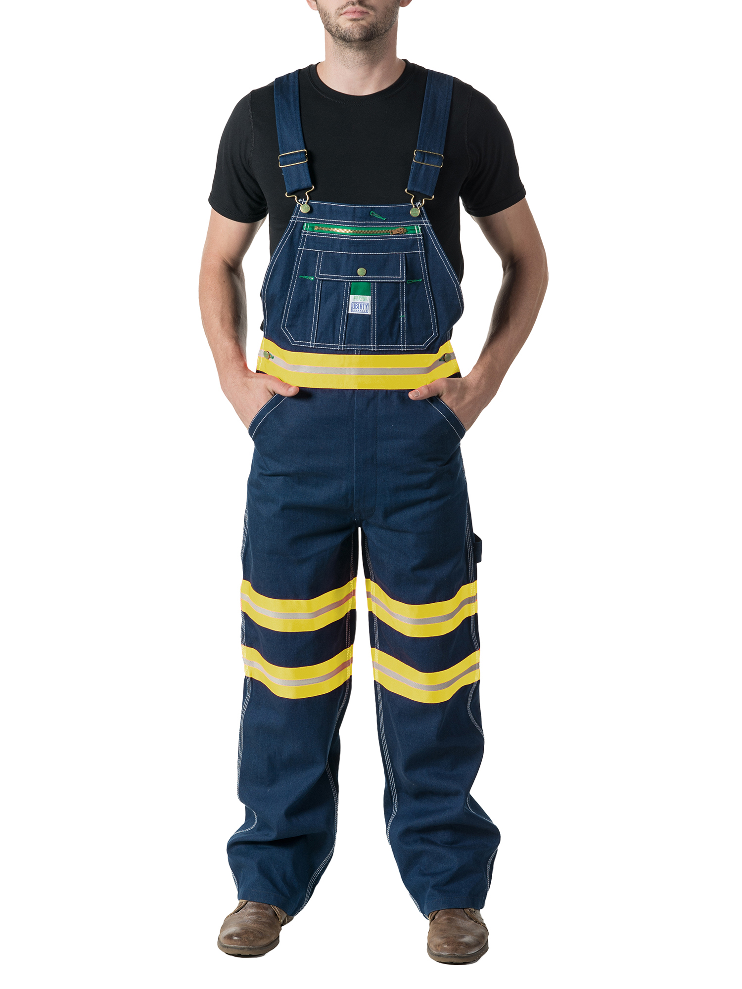 Men's 100% Cotton Rigid Denim Bib with Hi Vis Tape