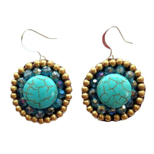 Wink International Thai-handicraft Gold-tone Turquoise and Blue Crystal Earrings (Thailand)