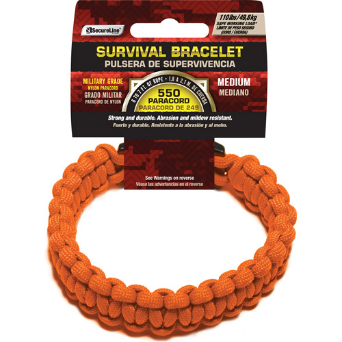 "SecureLine 550 lb Military Grade Paracord Survival Bracelet, Medium, 8.5"", Orange"
