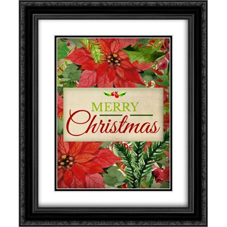 Poinsettia Christmas 2x Matted 20x24 Black Ornate Framed Art Print by Allen, Kimberly ()