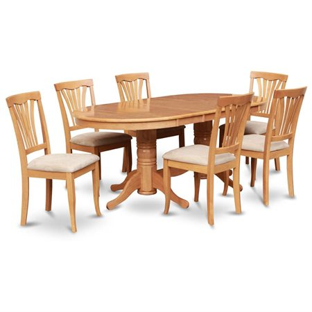 Vaav7 Oak C 7 Pc Dining Room Set Oval Table With Leaf And