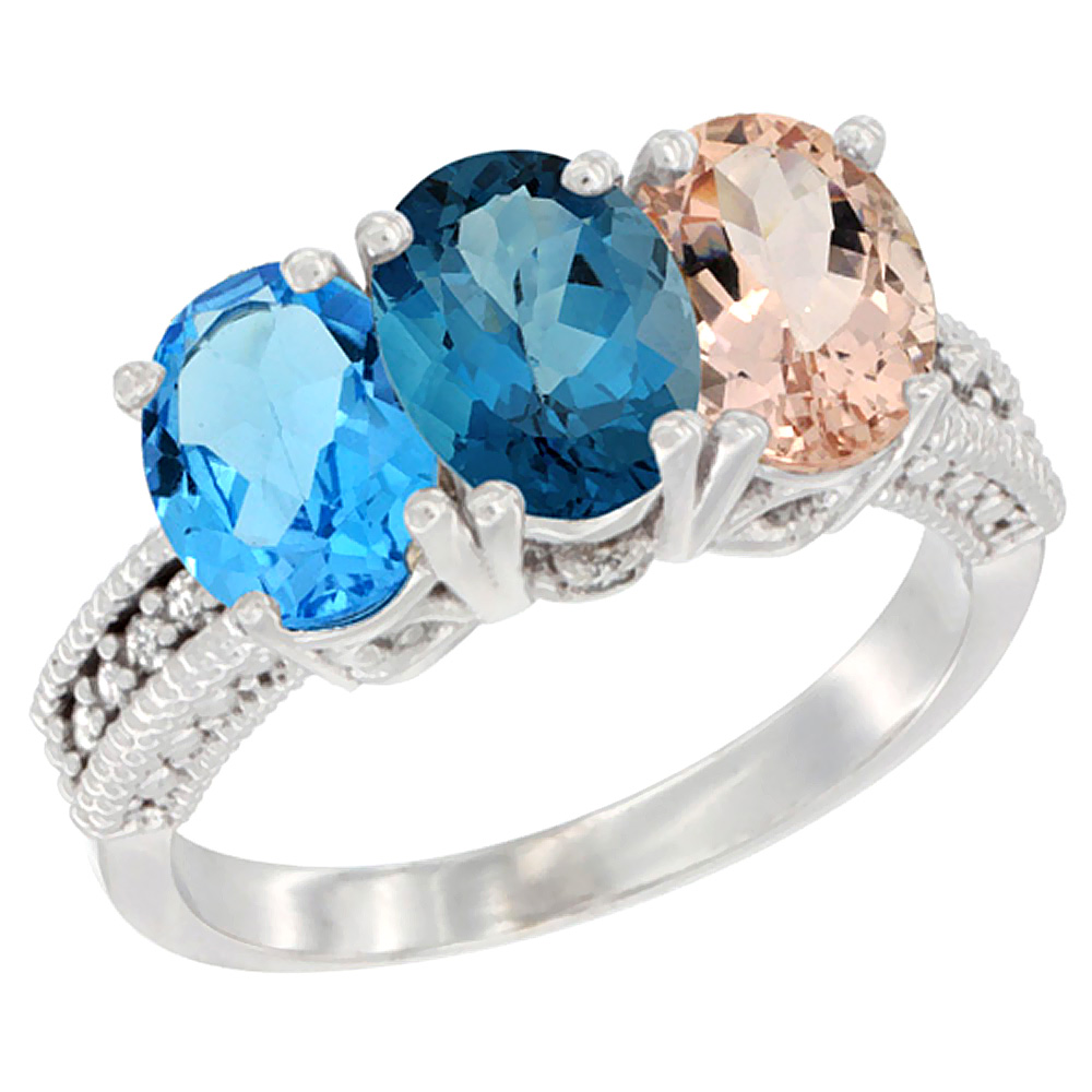 10K White Gold Natural Swiss Blue Topaz, London Blue Topaz & Morganite Ring 3-Stone Oval 7x5 mm Diamond Accent, sizes 5... by WorldJewels