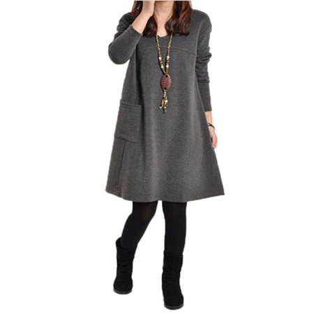 (Womens V Neck Long Sleeve Pocket Tunic Loose Casual Dresses)