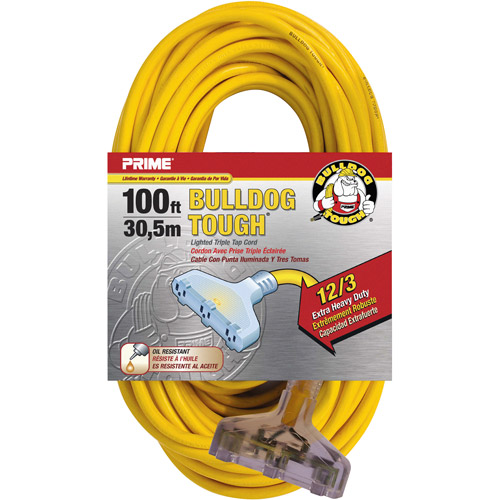 Prime Wire 100-Foot Bulldog Tough Heavy Duty Triple-Tap Extension Cord With Indicator Light