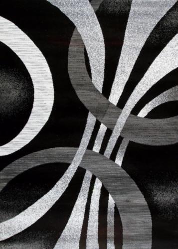 1447 Gray White Swirls 3 11 X 5 4 Modern Abstract Area Rug