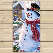GCKG Christmas Snowman Beach Towel Shower Towel Wrap For Home and Travel Use Size 13x13 inches