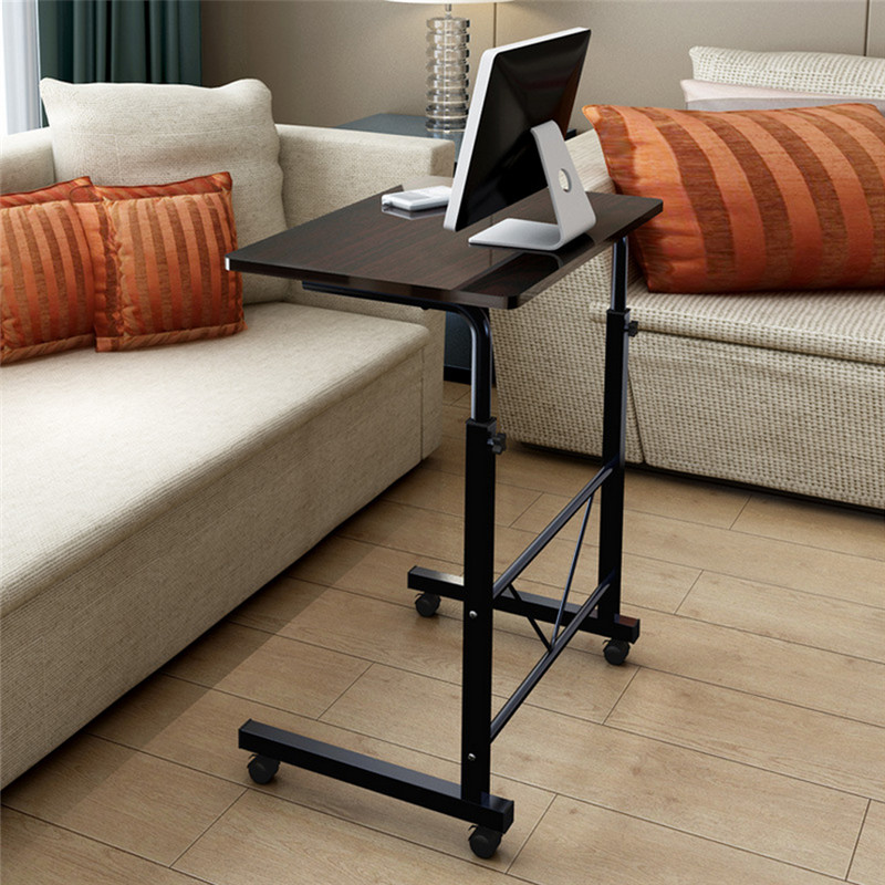 Mobile Laptop Desk/Cart/Stand Sofa Bedside Table Adjustable Height Workstation with Wheels for Home Office(black)