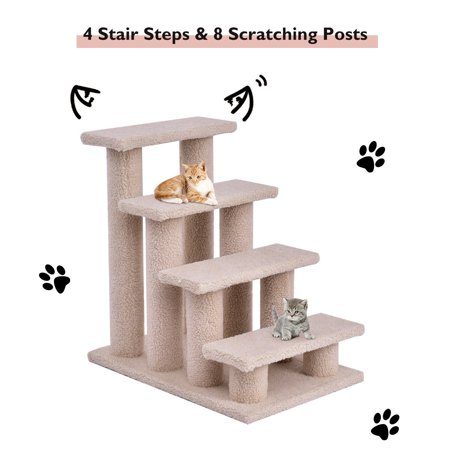 Gymax 24'' 4-step Pet Stairs with 8 Scratching Posts Cat Climber Kitten Steps (Cat Stairs)