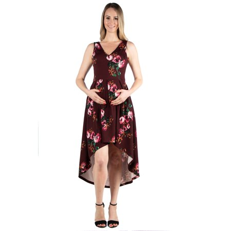 24seven Comfort Apparel Maternity Maroon Floral High Low Dress with Pockets
