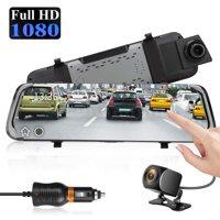 "Mirror Dash Cam 10"" 1080P Backup Camera, EEEkit Dash Cam Front and Rear Dual Lens Full Touch Screen Video Streaming Rear View Mirror Camera w/Waterproof, Loop Recording, G-sensor, Night Vision"
