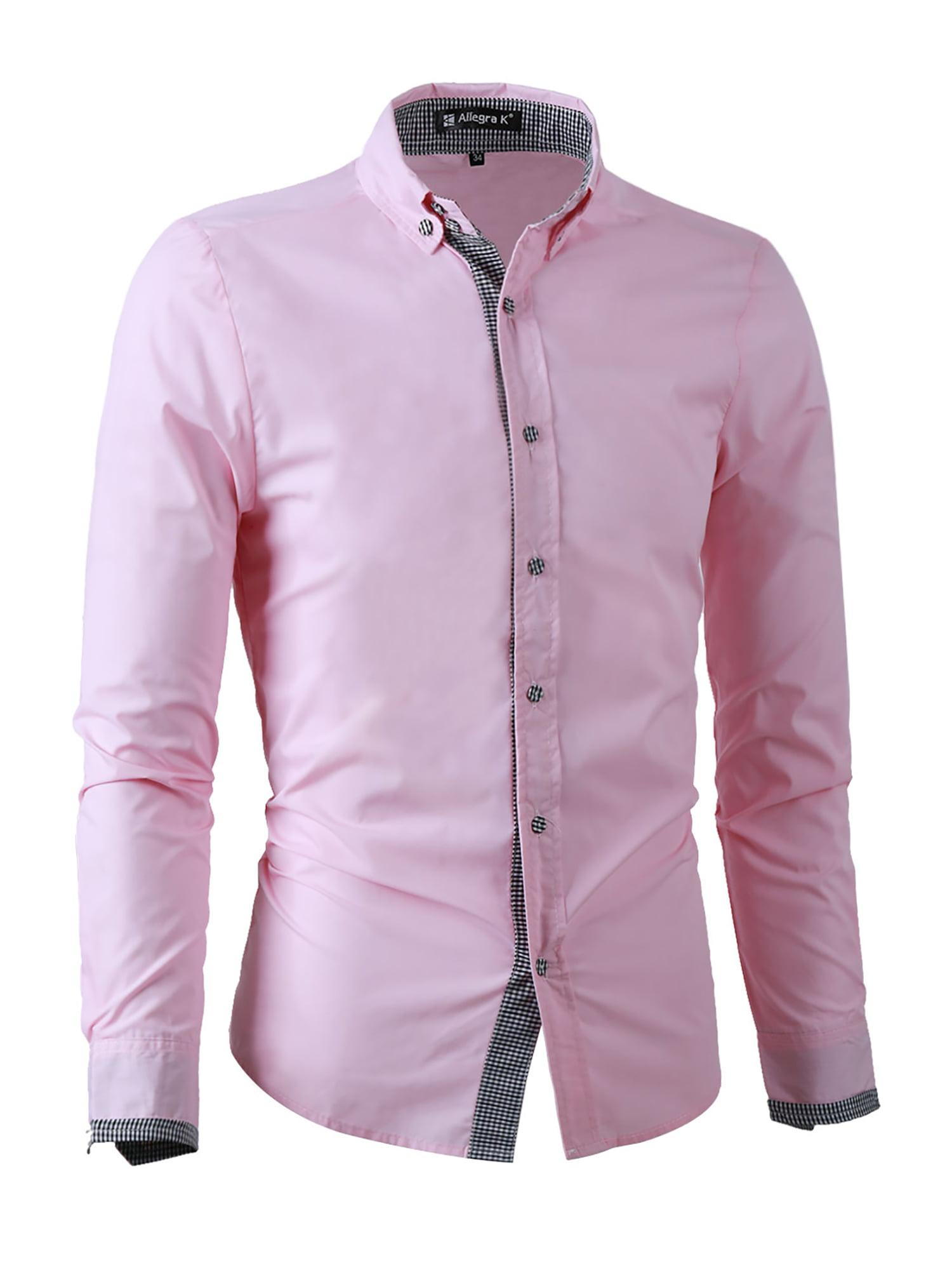 Unique Bargains Mens Point Collar Button Down Long Sleeve Plaids