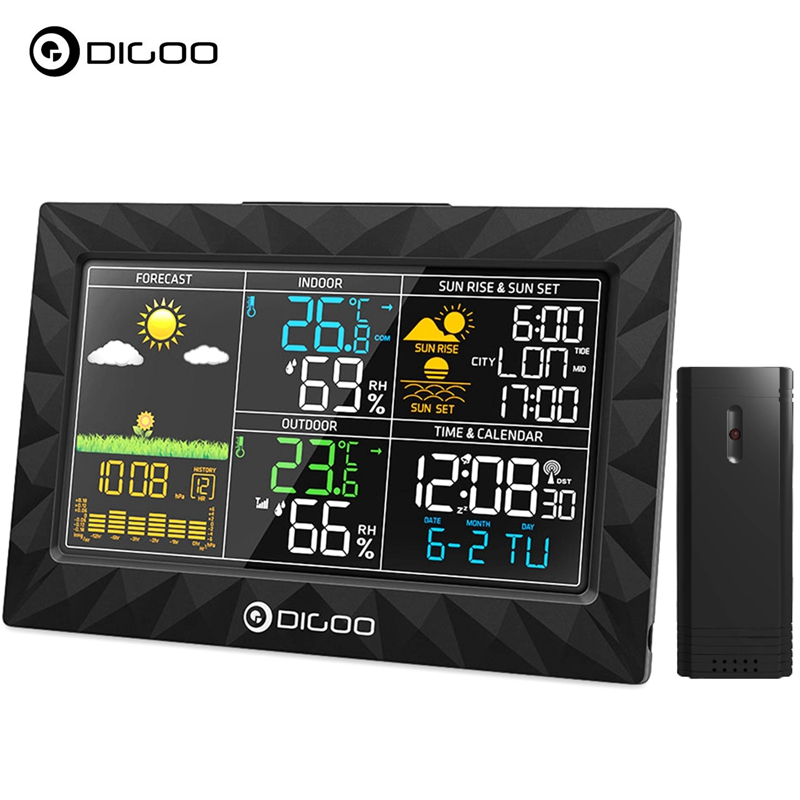 DIGOO Wireless Weather Station with Outdoor Sensor, HD LCD Color Screen Body Geometric Design For Rain... by