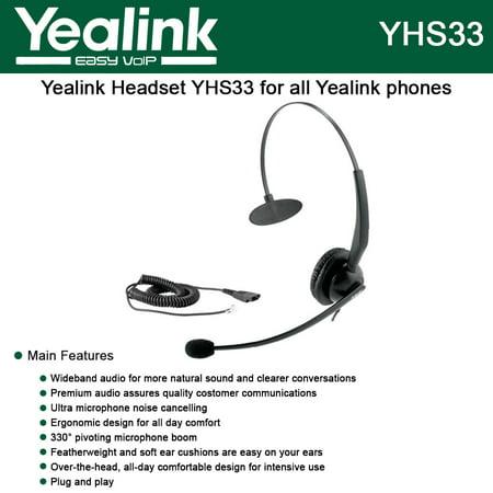 Yealink YHS33 Wideband Headset for Yealink IP Phones, plug and play (Ip Phone Headset)