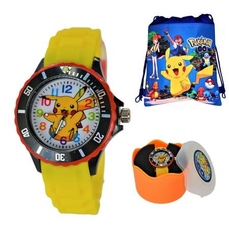 Pokemon Pikachu Quartz Analog Watch For Kids Boys Girls Children. Large Modern Display.