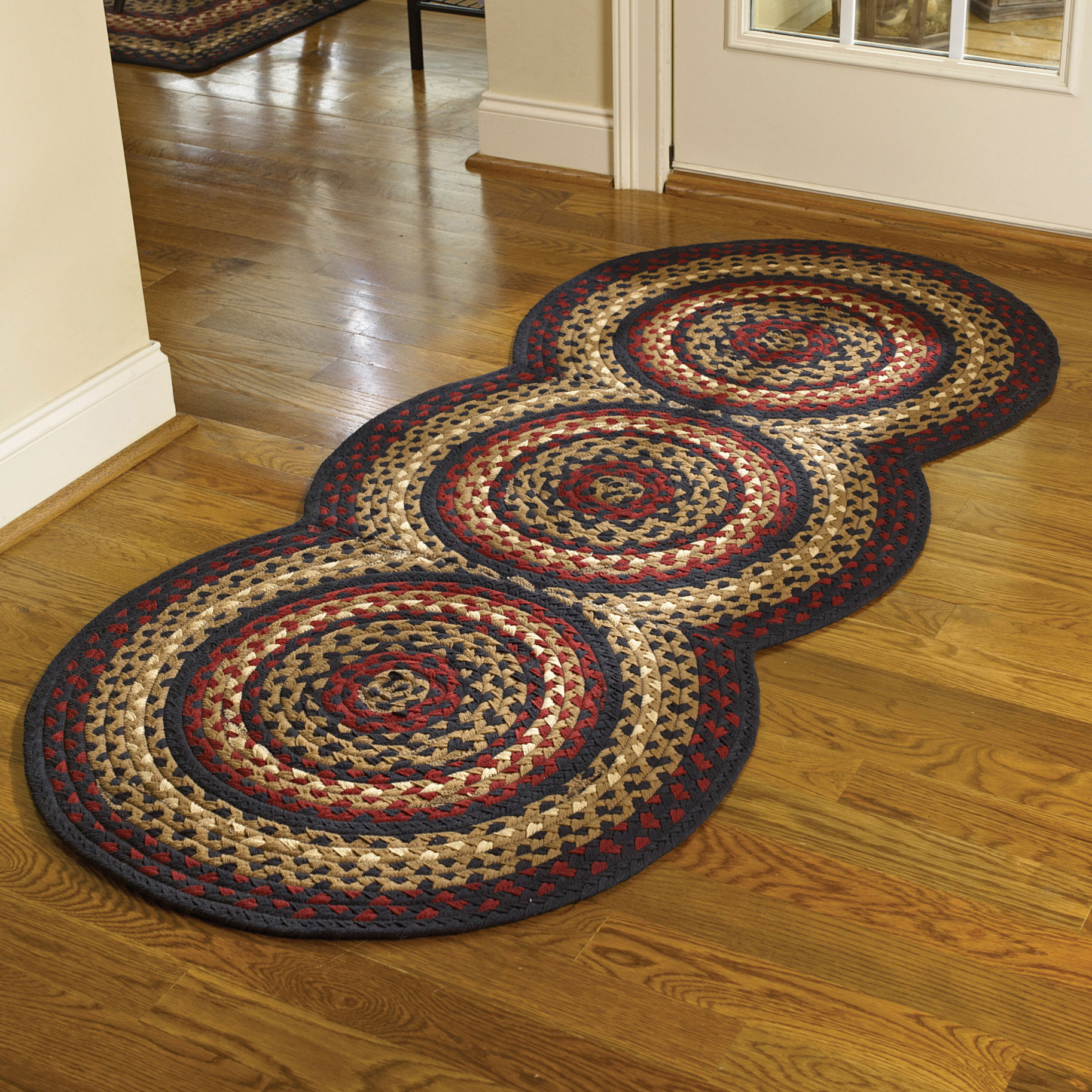 Country Park Designs Black Cotton Braided Area Rug Red Cream