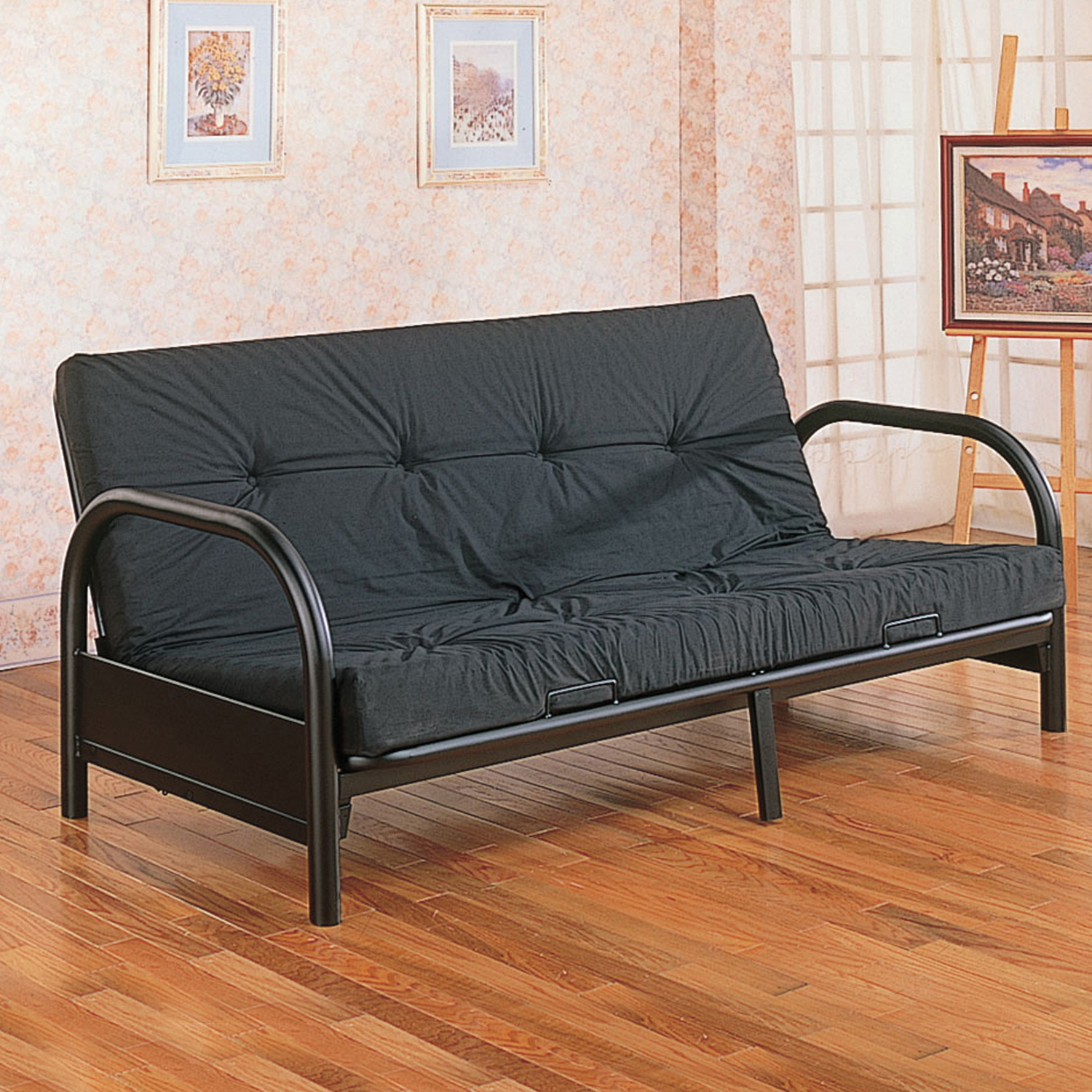 "Home Source Black Futon Frame with 29"" Arms by Home Source"