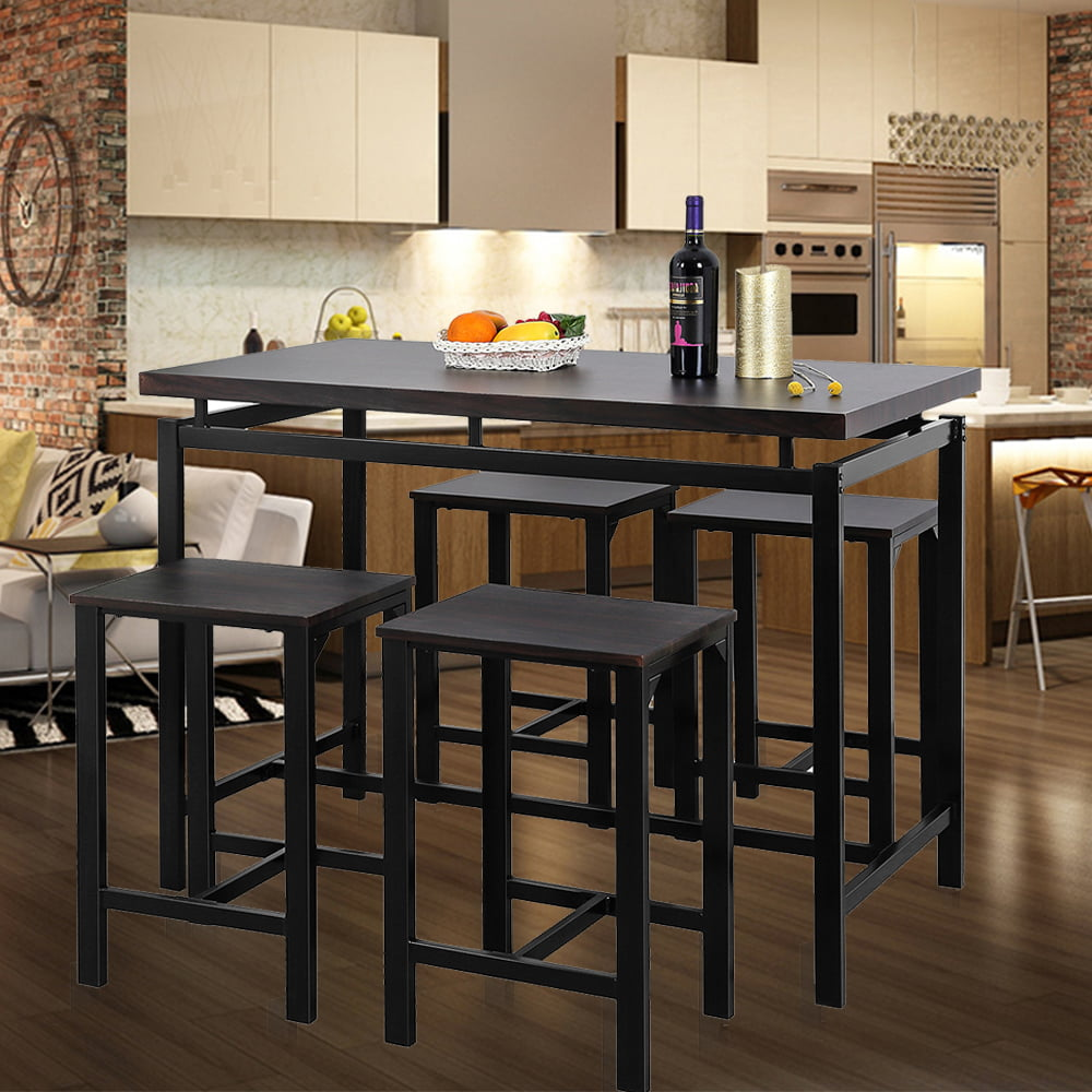 Wood Pub Table Set Counter Height Kitchen Dinner Bar Dining Home Height Stools
