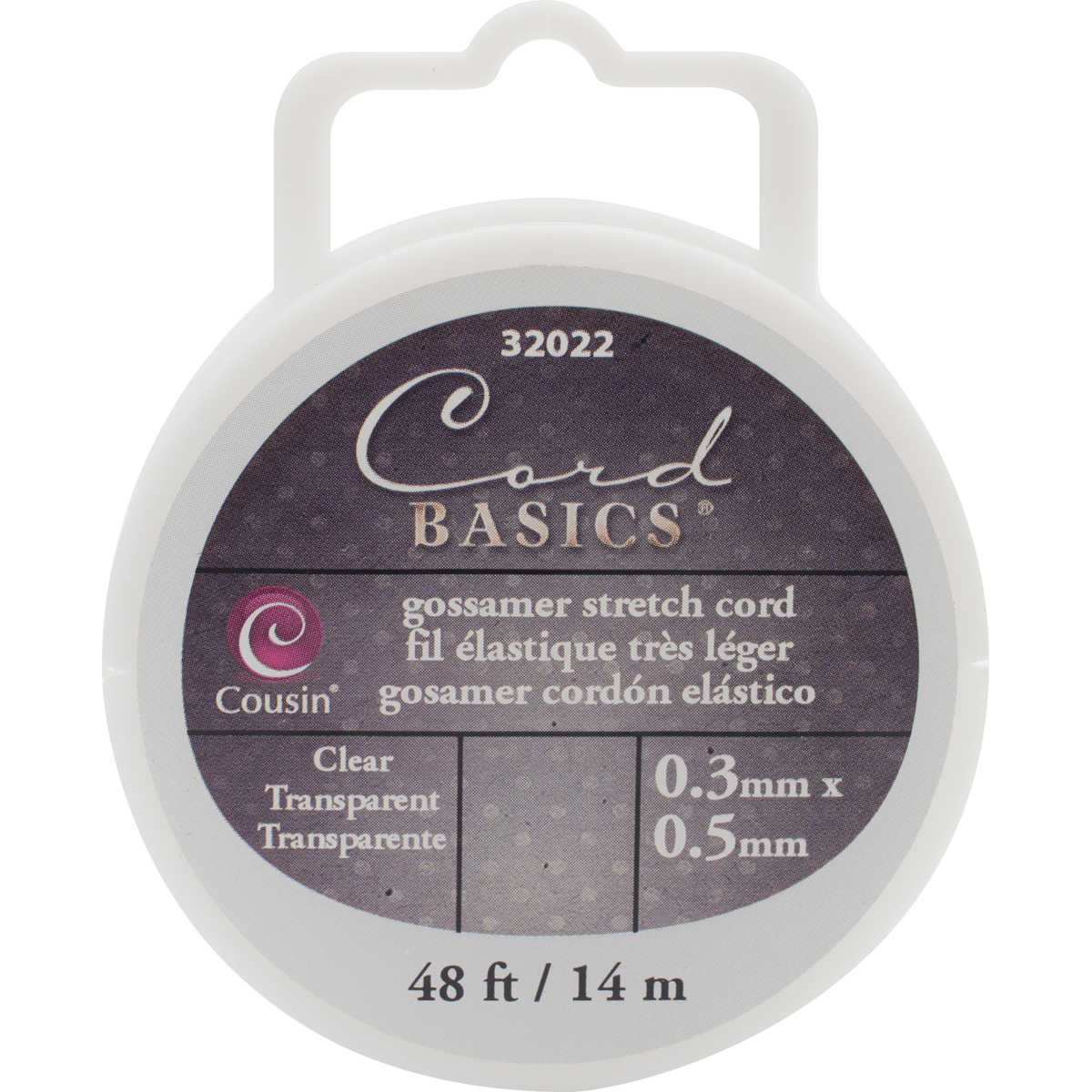 Cord Basics Gossamer Stretch Cord .5mmX48'-Clear