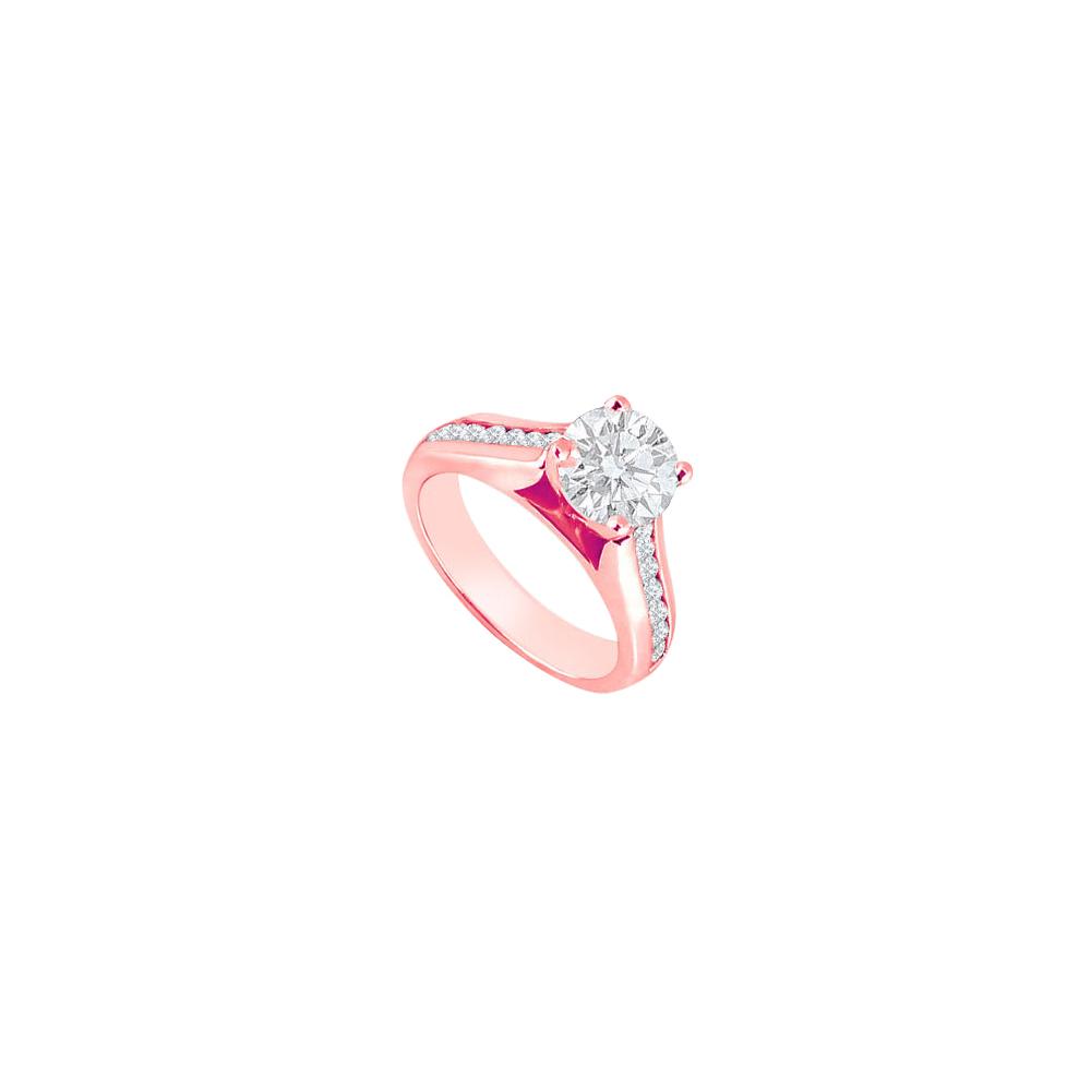 April Birthstone Cubic Zirconia Engagement Ring in 14K Rose Gold 1.25 CT TGW - image 2 de 2