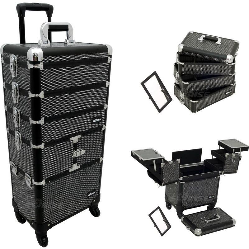 Sunrise Black Krystal Trolley Makeup Case- I3364