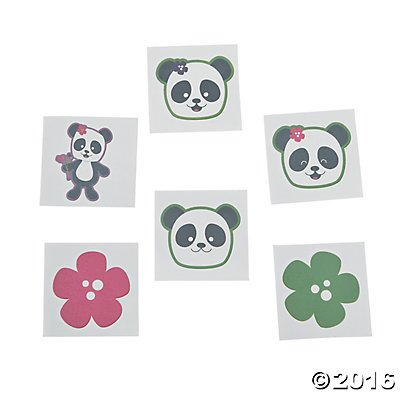 Panda Party Tattoos - 72 ct, 72 pcs. per unit By Fun