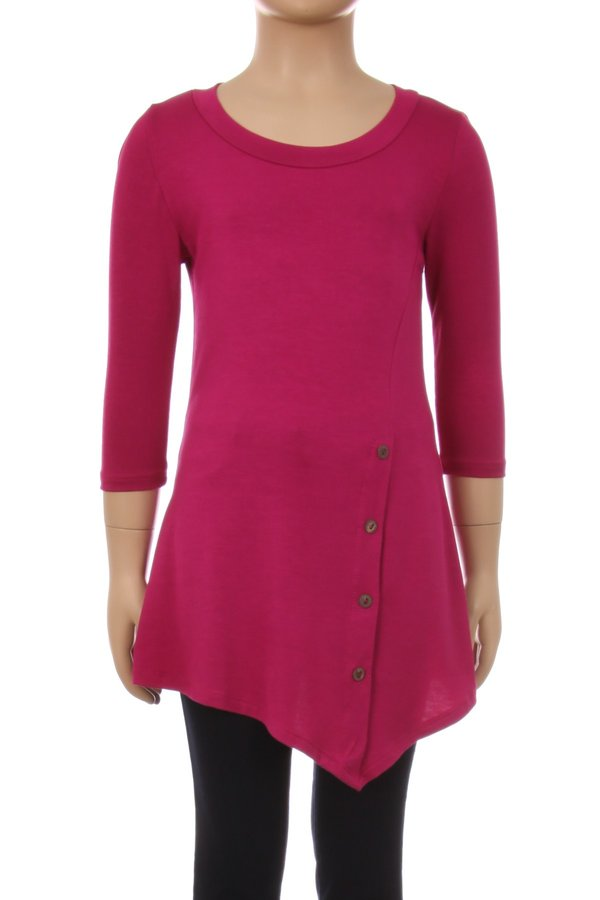 Children's Trendy Style 3/4 Sleeves Solid Knit Tunic Top