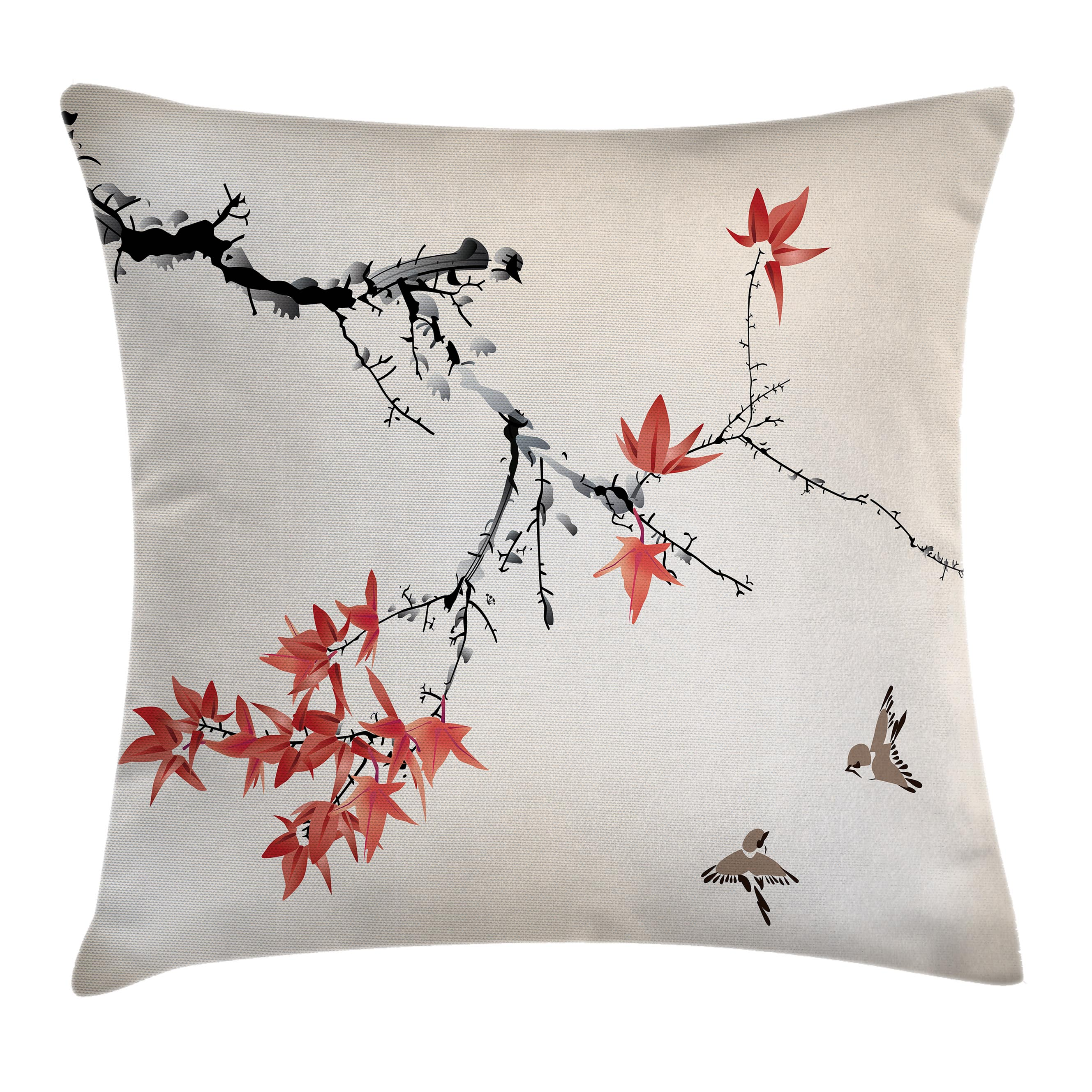 Japanese Throw Pillow Cushion Cover, Cherry Blossom Sakura Tree Branches Romantic Spring Themed Watercolor Picture, Decorative Square Accent Pillow Case, 24 X 24 Inches, Coral Black, by Ambesonne