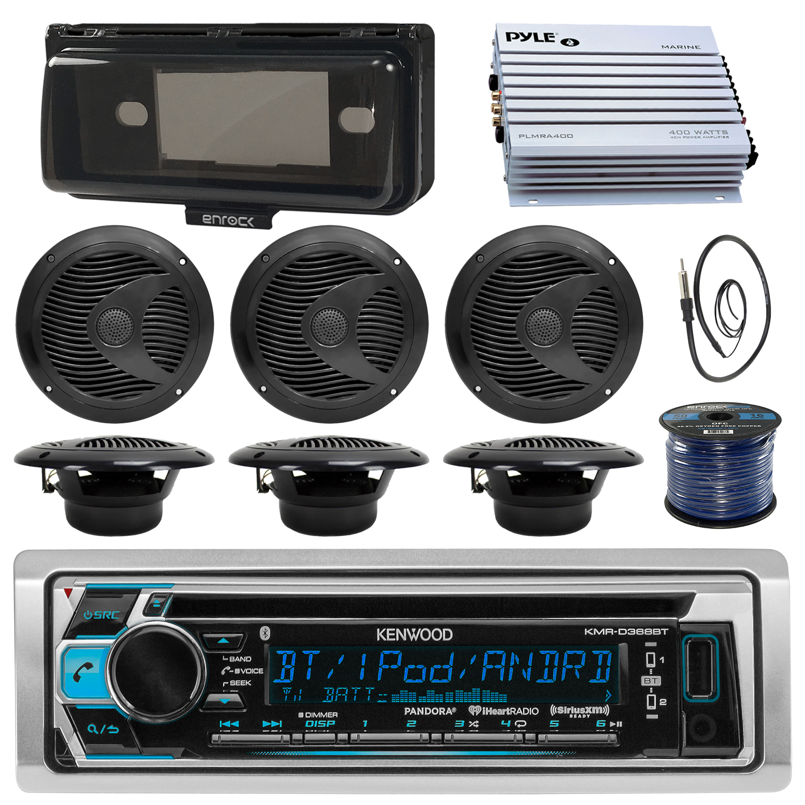Kenwood KMRD372BT Marine Boat Audio Bluetooth CD Player Receiver W/ Protective Cover - Bundle Combo With 6x Black 6-1/2'' 150W Waterproof Stereo Speakers + Enrock Antenna + 400W Amplifier + 50-FT Wire