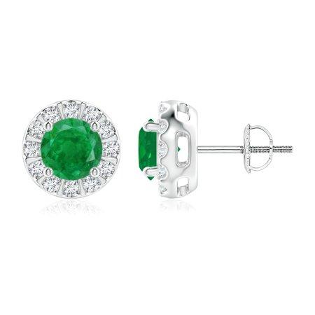May Birthstone Jewelry - Emerald Stud Earrings with Bar-Set Diamond Halo in 14K White Gold (6mm Emerald) - SE0126E-WG-AA-6
