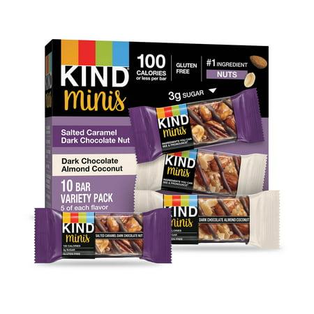 KIND Minis Salted Caramel & Dark Chocolate Nut and Dark Chocolate Almond & Coconut 10 Ct ()