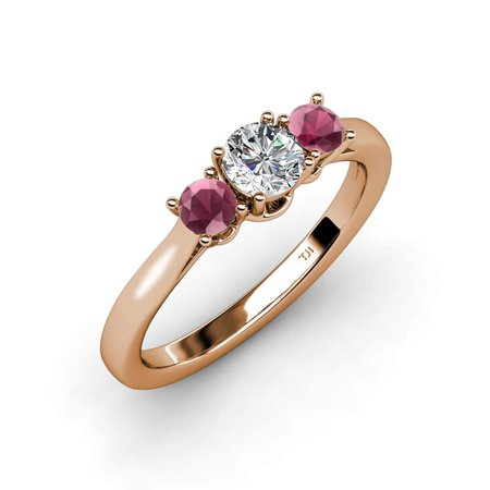 Rhodolite Garnet with Center Diamond (SI2-I1, G-H) Three Stone Ring 1.13 ct tw in 14K Rose Gold.size 7.0