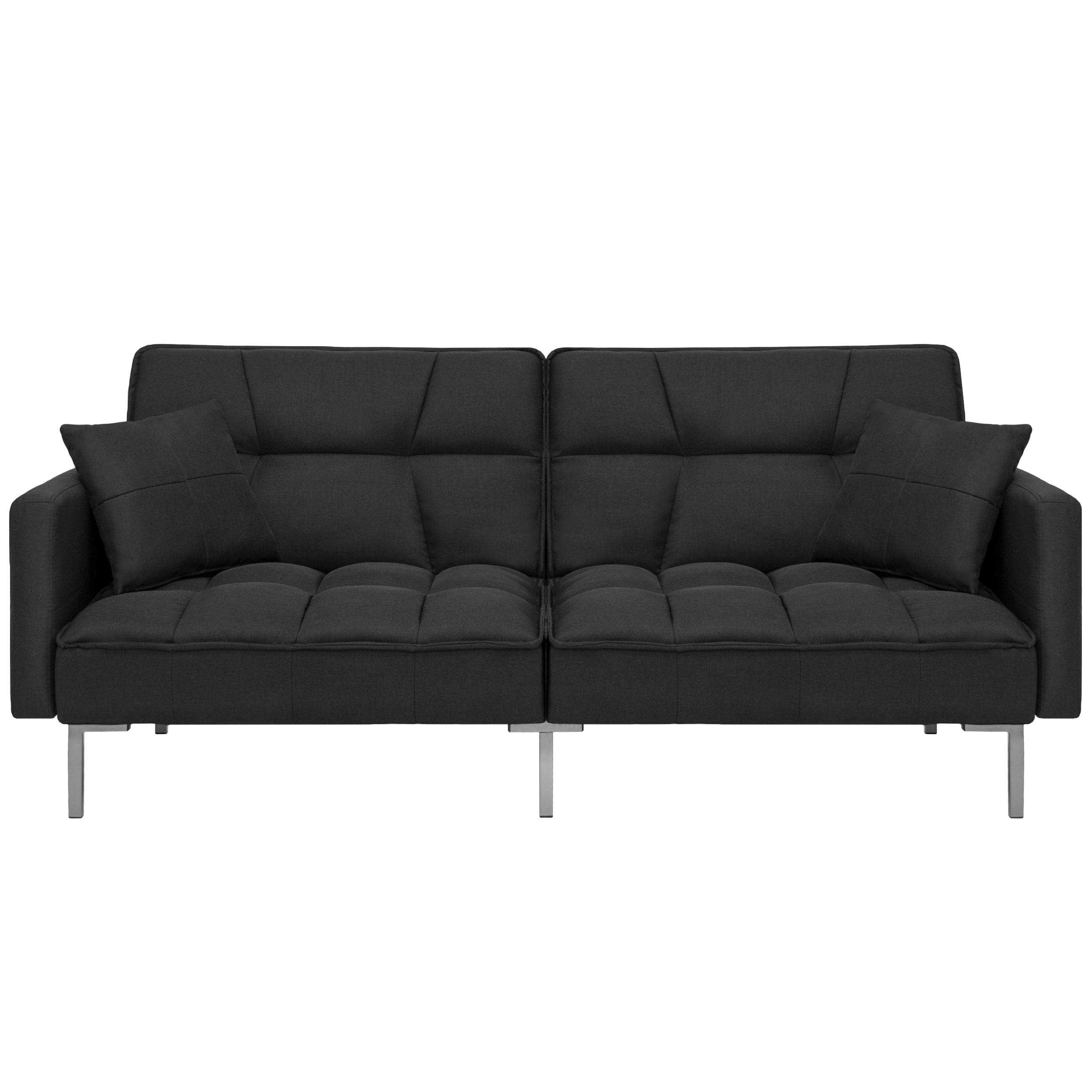 Best Choice Products Convertible Futon Linen Tufted Split Back Couch w  Pillows Black by Best Choice Products