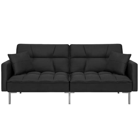 Best Choice Products Convertible Futon Linen Tufted Split Back Couch W Pillows Black