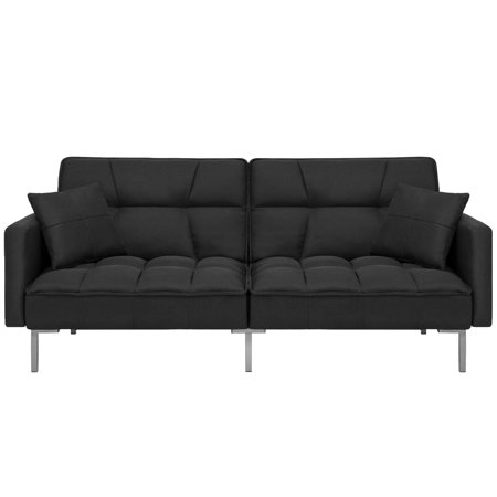 Best Choice Products Convertible Futon Linen Tufted Split Back Couch w/ Pillows - Black