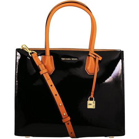 (Michael Kors Women's Large Mercer Bonded Jerome Patent Leather Tote Shoulder Bag - Black)