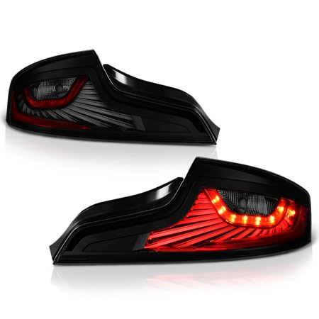 VIPMOTOZ Black Smoke OLED Neon Tube LED Tail Light Lamp Assembly For 2003-2005 Infiniti G35 Coupe, Driver & Passenger Side