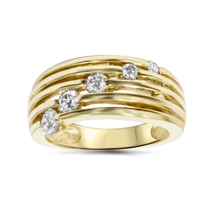 14k Yellow Gold 1/2ct Fancy Womens Right Hand Diamond Ring Contemporary Right Hand Ring