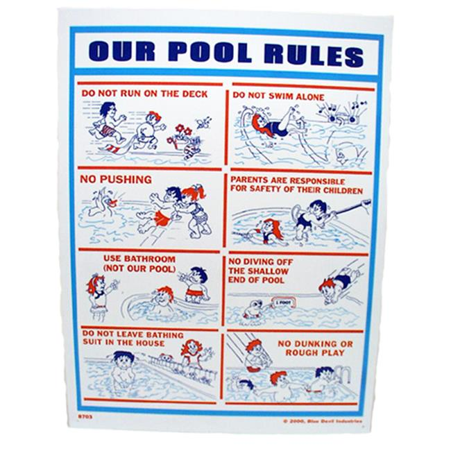 Valterra Products B8703 Blue Devil 18 x 24 inch Our Pool Rules Sign