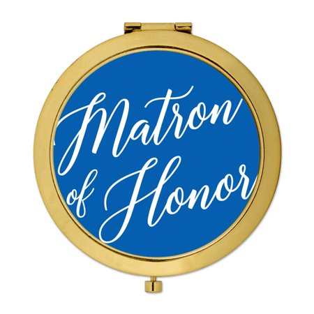 Andaz Press Gold Compact Mirror Matron of Honor Wedding Gift, Royal Blue, 1-Pack Royal Blue 3 Piece