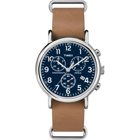 Weekender Chrono Watch, Tan Leather Double-Layered Slip-Thru - Large Chrono Watch