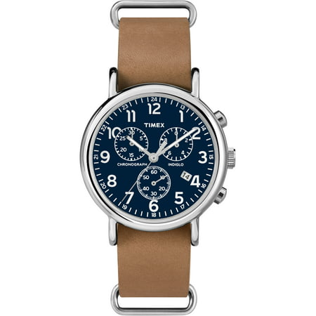 Weekender Chrono Watch, Tan Leather Double-Layered Slip-Thru Strap