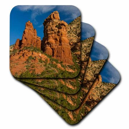 3dRose Thunder Mountain, Coffee Pot Rock, Sedona, Arizona, USA, Ceramic Tile Coasters, set of 4