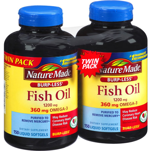 Nature Made Fish Oil Liquid Softgels Dietary Supplement, 1200mg, 150 count, (Pack of 2)