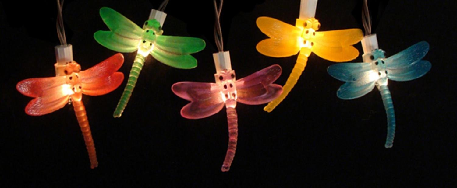 Charmant Battery Operated LED Dragonfly Garden Patio Umbrella Lights With Timer, Set  Of 10, Item