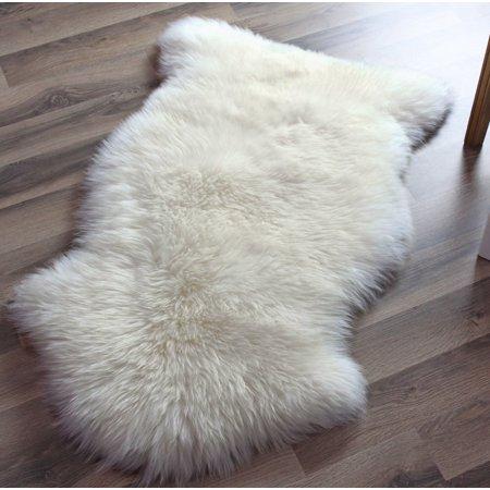 Super Area Rugs Genuine Australian Sheepskin Ivory Fur Rug Single Pelt 2ft