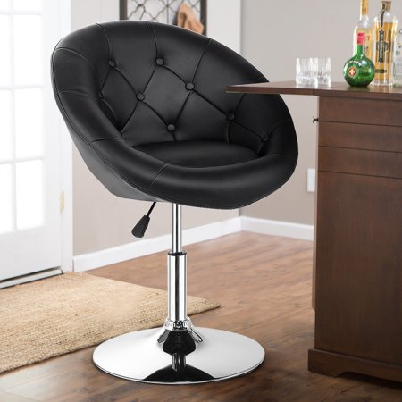 Gymax PU Leather Adjustable Modern Chair Swivel Round Tufted Back Black - image 9 de 10