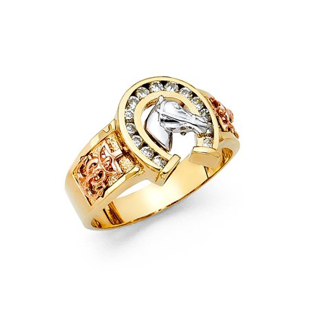 Men's Thick 14K Solid Yellow Gold Cubic Zirconia Horseshoe Ring, Size 11